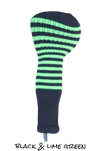 Black and Lime Green Club Sock Golf Headcover | Peanuts and Golf