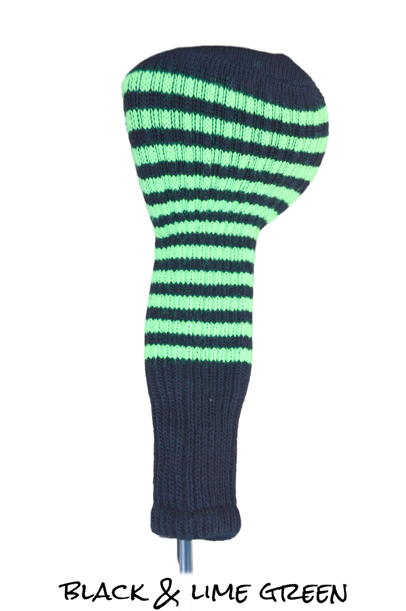 Black and Lime Green Club Sock Golf Headcover