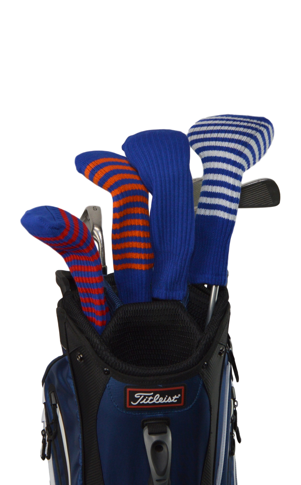 Navy Blue and Orange Club Sock Golf Headcover