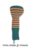 Dark Green and Orange Club Sock Golf Headcover
