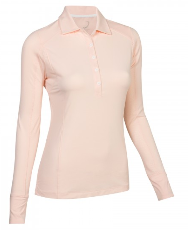 Zero Restriction Emma Long Sleeve Polo - Pink SPF 50
