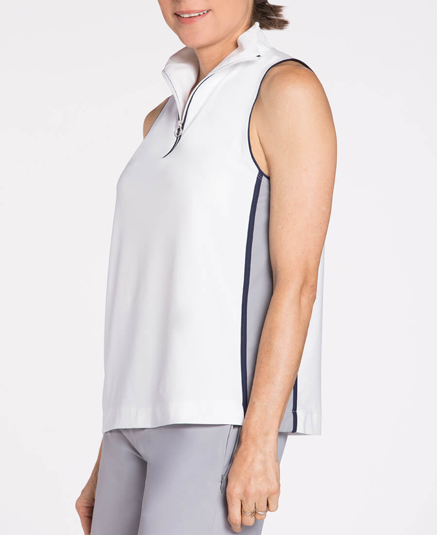 KINONA Sporty Shoulders Sleeveless White Golf Mock