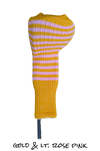 Gold and Light Rose Pink Club Sock Golf Headcover | Peanuts and Golf