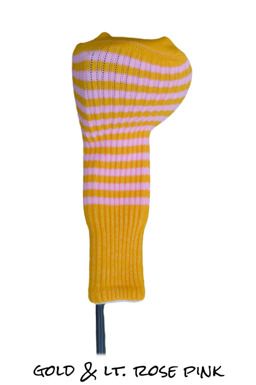 Gold and Light Rose Pink Club Sock Golf Headcover