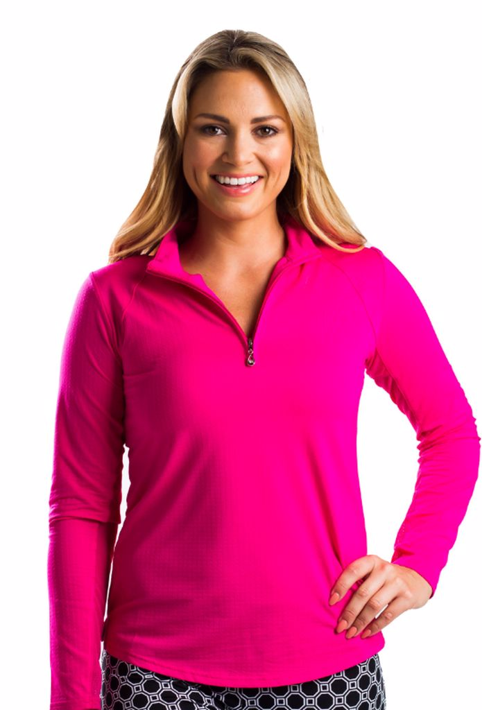 SanSoleil 900434 SunGlow Zip Mock. Hot Pink | SPF 50