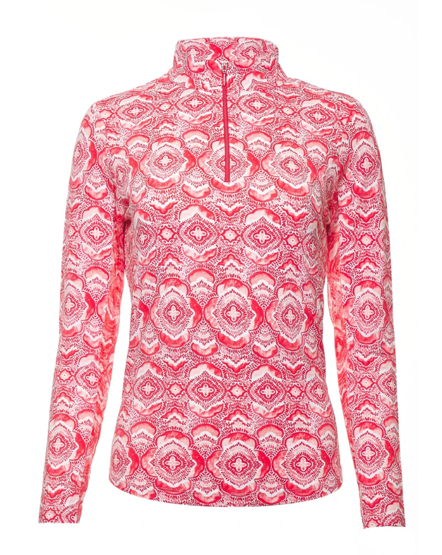 Ibkul Long Sleeve Zip Mock: Venetian Tiles Print Melon | SPF 50