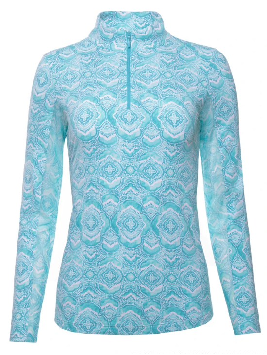 Ibkul Long Sleeve Zip Mock: Venetian Tiles Print Jade | SPF 50