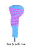 Light Blue and Ruby Pink Club Sock Golf Headcover | Peanuts and Golf