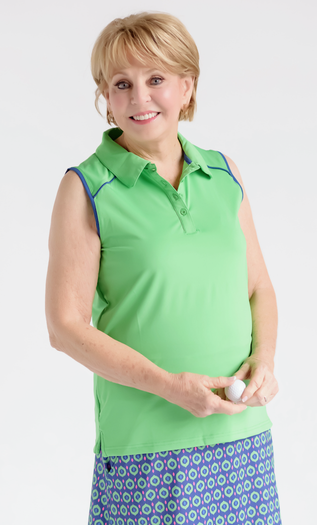 Birdies and Bows Match Play Sleeveless Polo - Green/Navy