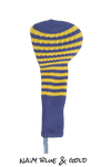 Navy Blue and Gold Club Sock Golf Headcover | Peanuts and Golf