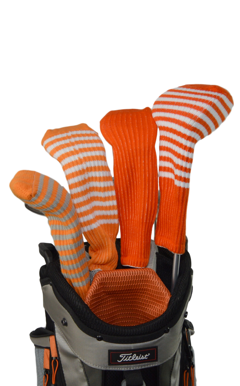 Light Orange and Silver Club Sock Golf Headcover
