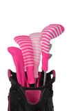 Ruby Pink and White Club Sock Golf Headcover