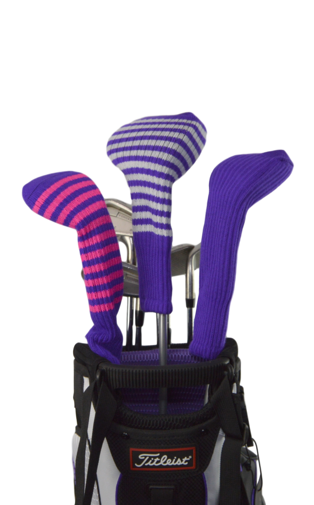 Purple and White Club Sock Golf Headcover