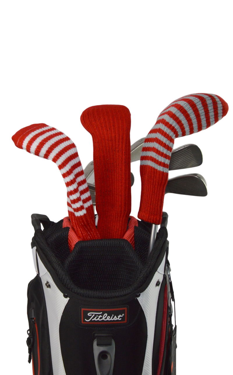 Burgundy Red and Black Club Sock Golf Headcover