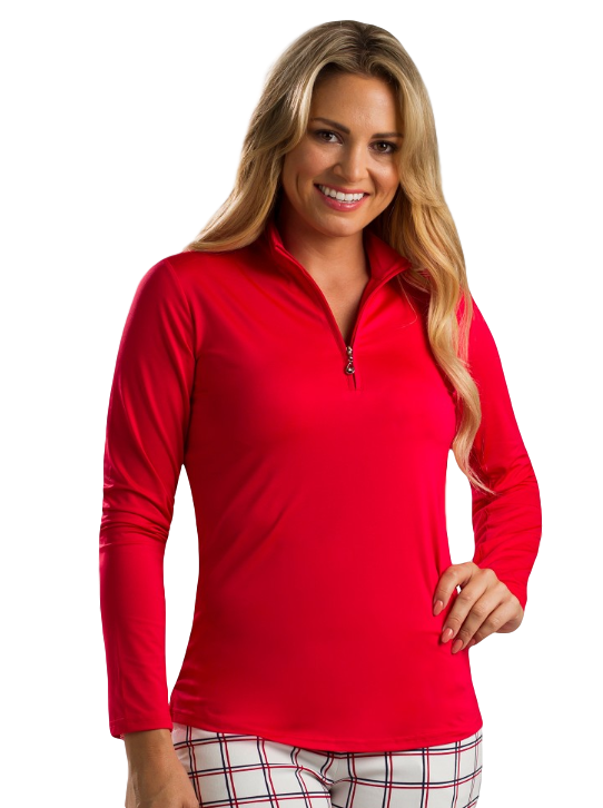 SanSoleil 900434 SunGlow Zip Mock. Red | SPF 50
