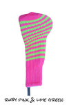 Ruby Pink and Lime Green Club Sock Golf Headcover | Peanuts and Golf