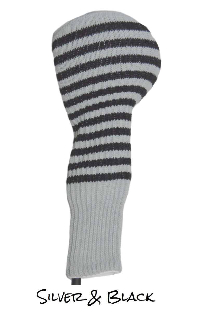 Silver and Black Club Sock Golf Headcover