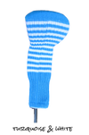 Turquoise and White Club Sock Golf Headcover | Peanuts and Golf