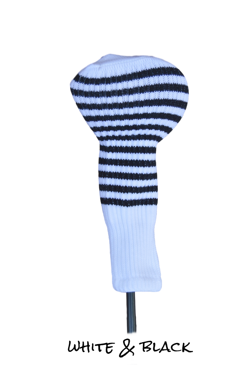 White and Black Club Sock Golf Headcover | Peanuts and Golf