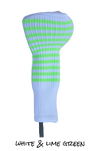 White and Lime Green Club Sock Golf Headcover | Peanuts and Golf