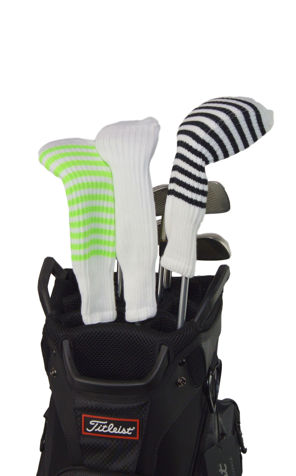 White and Orange Club Sock Golf Headcover