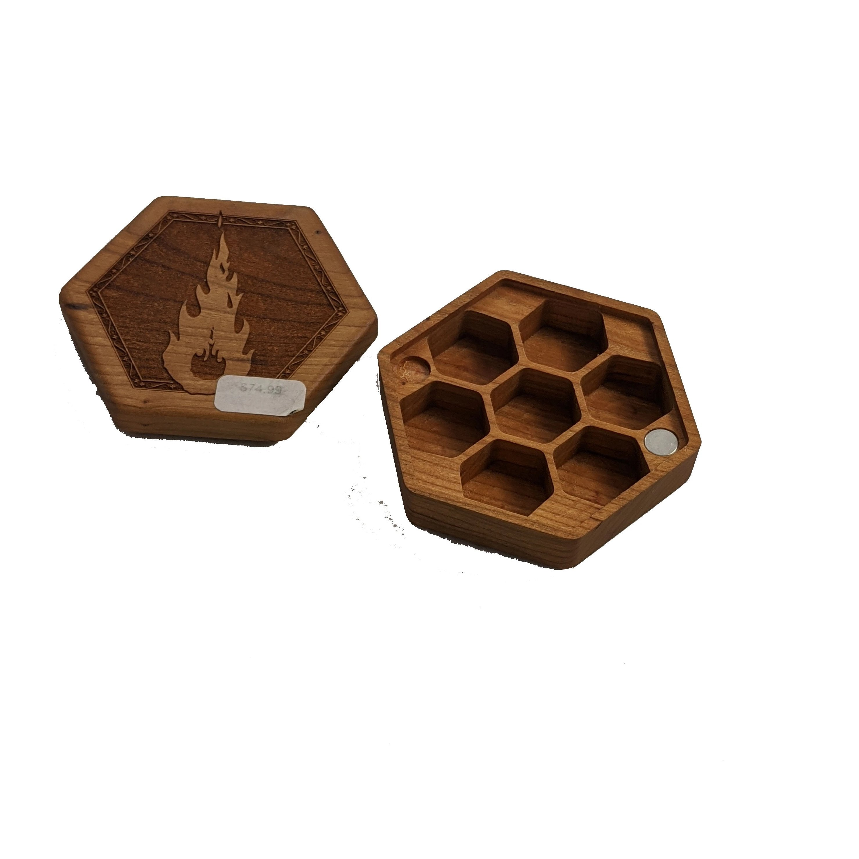 Hex Dice Boxes (various wood styles)