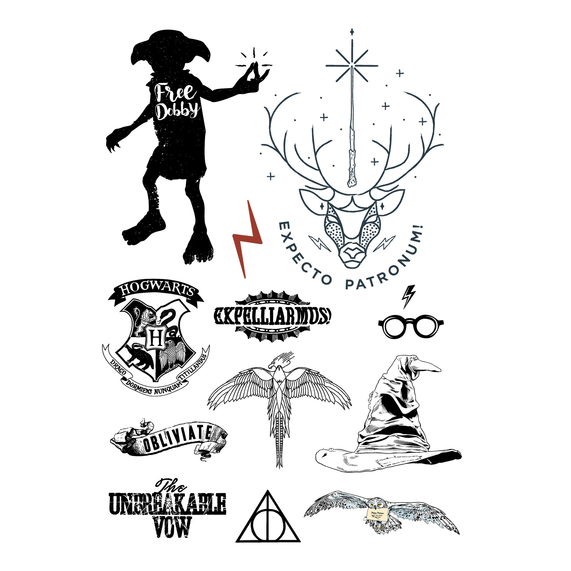 Harry Potter Temporary Tattoos (35 tattoos) – Cinereplicas USA