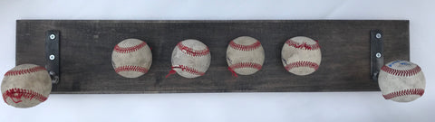 Vintage Bat Rack with Used Baseballs