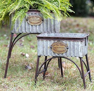 Farmhouse style galvanized outdoor planters