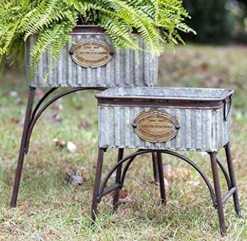 galvanized outdoor planters
