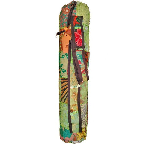 Patchwork Pattern Yoga Mat Bag | Boho Style Embroidered