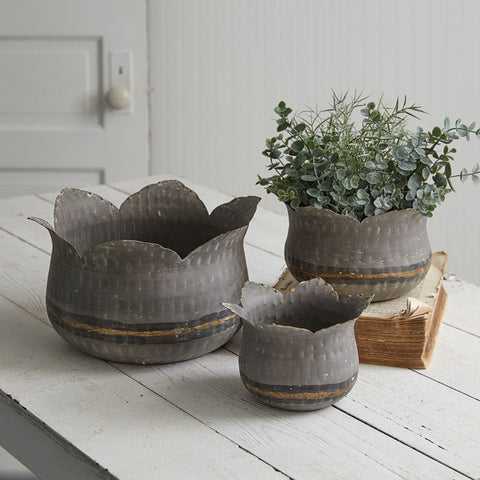 Lotus Flower Bowls - Set of 3 Nested Metal Planters