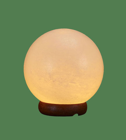 White Himalayan Salt Lamp Globe on Base