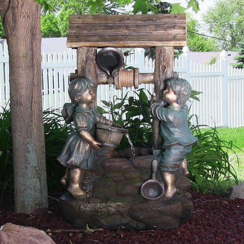wishing well lighted fountain antique style cascade yard decor