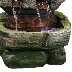 Rock Waterfall Fountain - Tiered Cascade Water Feature with LED Light - Uneedum