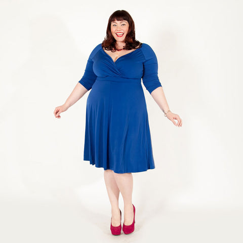 Amber blue plus size Francesca dress