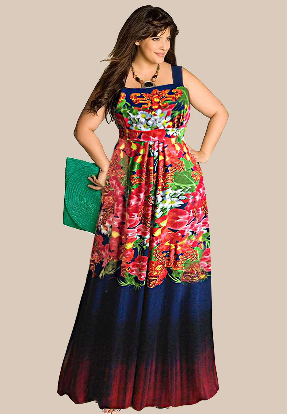 Alina Plus Size Floral Gown (Made To Order)