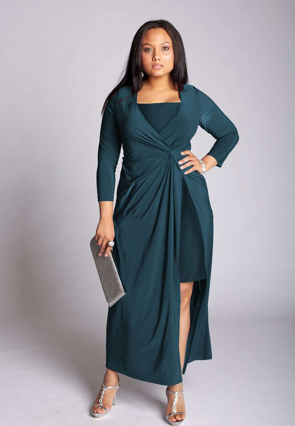 Micha Plus Size Gown in Teal (Made-To-Order)