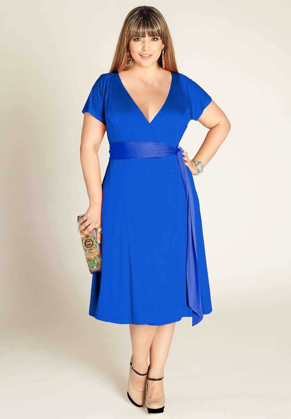 Bellissima Plus Size Wrap Dress In Royal (Made To Order)