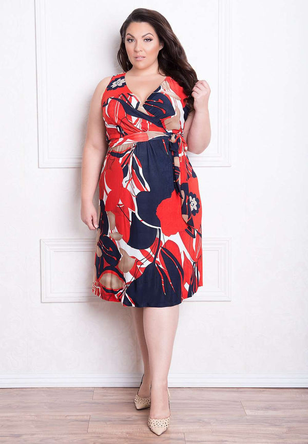 Stunning And Printed Designer Plus Size Lindsey Dress Igigi