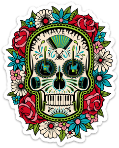 Flower Skull Automobile Sticker