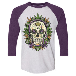 Royal Purple Sugar Skull 3/4 Sleeve Shirt