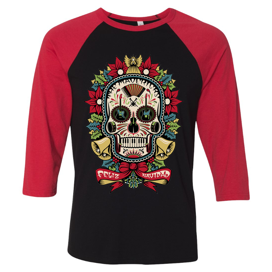 Christmas Skull Black & Red 3/4 Sleeve Shirt