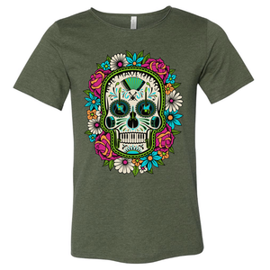 Hunter Green Flower Skull Raw Neck T-Shirt + Digital Download