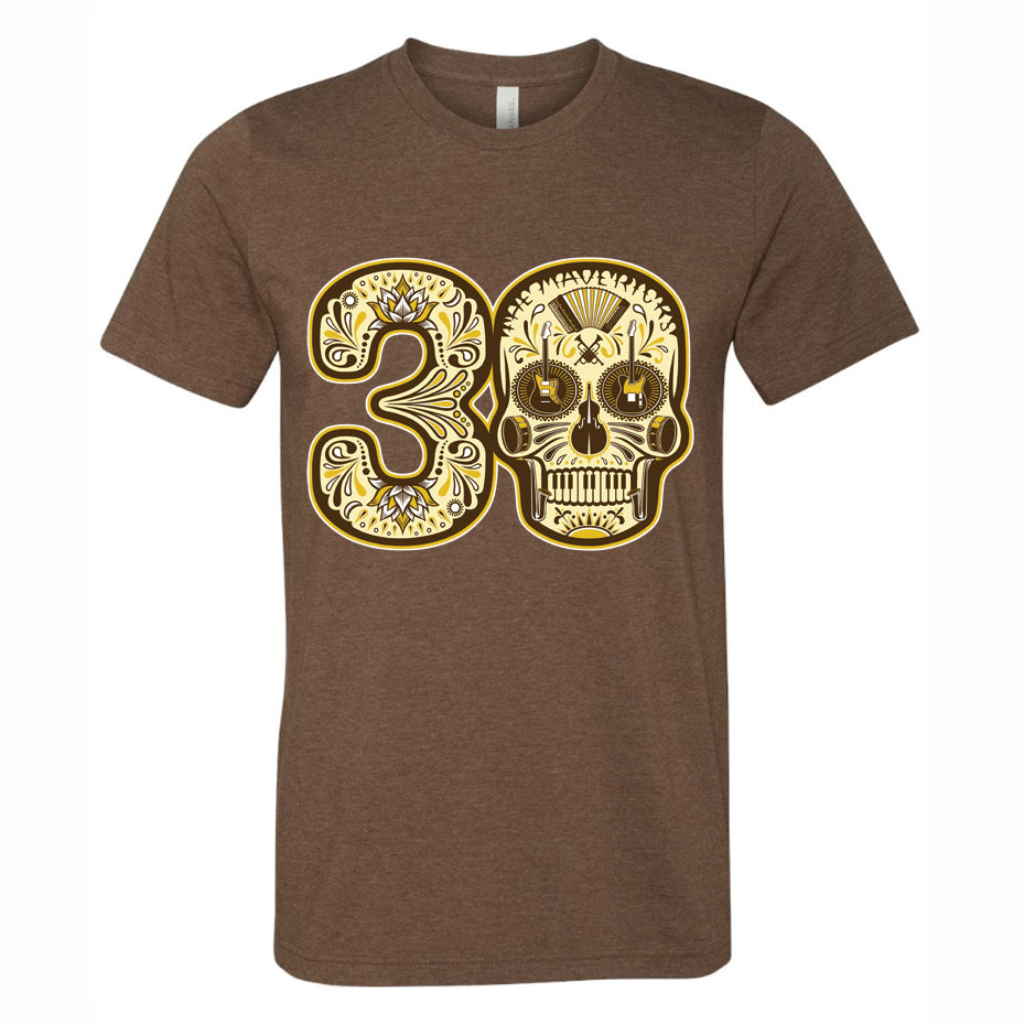 Play The Hits 30th Skull Brown T-Shirt