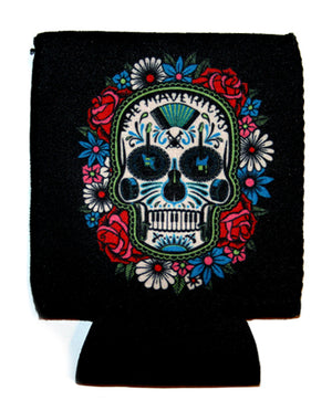 Sugar Skull with Floral Design Canned Drink Koozie