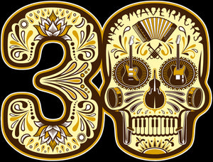 Play The Hits 30th Skull Automobile Sticker