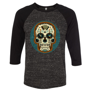 Black and Marble Ray Skull 3/4 Sleeve Shirt