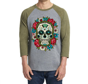 Olive and Grey Flower Skull 3/4 Sleeve Shirt