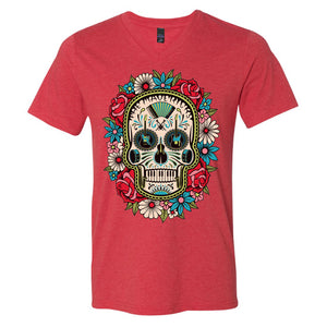 Red Flower Skull V Neck T-Shirt